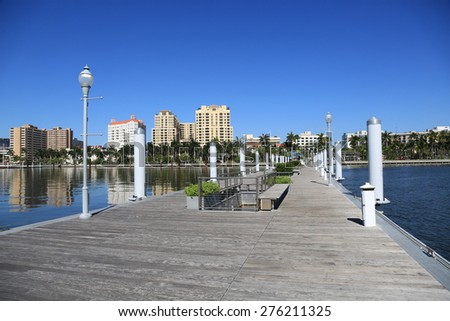 Clean and modern public docks in downtown West Palm Beach, Florida. - stock photo