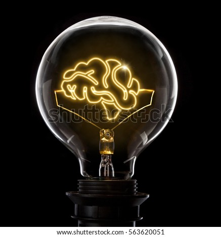 Clean And Shiny Lightbulb With A Brain As Glowing Wireseries