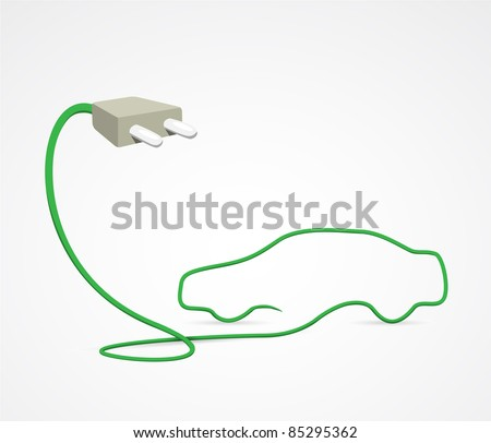 Clean and simple Illustration of a cord forming a car, symbolizing the concept of an electric car