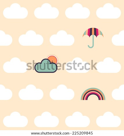 Clean and simple seamless cloud pattern, with umbrella, cloud, sun and rainbow, in a bright contemporary colour palette (jpg) - stock photo