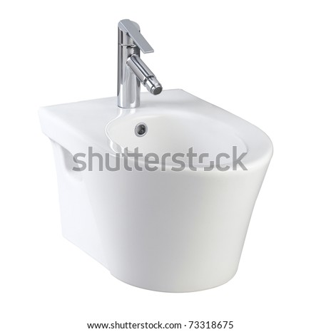 Clean and useful toilet urinate bowl small and compact an image isolated on white - stock photo