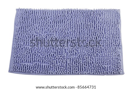 Clean bathroom doormat isolated on white - stock photo