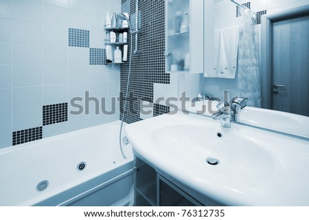 clean bathroom in a modern apartment - stock photo