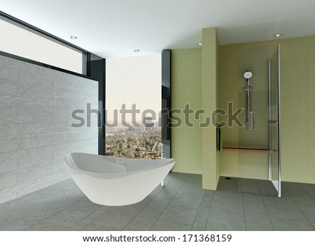 Clean bathroom interior with tiled wall and floor and bathtub - stock photo