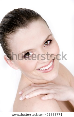 Clean, beautiful woman isolated on white - stock photo