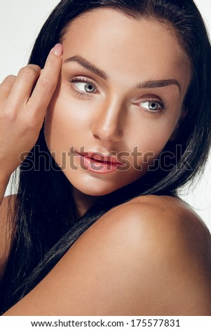 Clean beauty portrait of an attractive brunette woman - stock photo