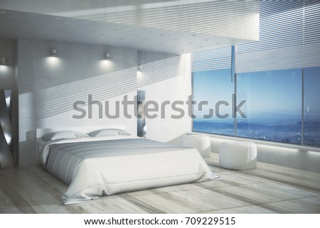 Clean Bedroom Creative Design creative bedroom interior white furniture wooden stock