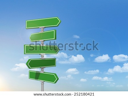 Clean blank of road sign on the sky. - stock photo