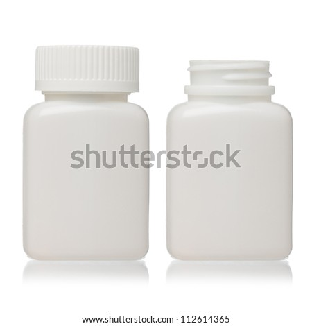 Clean blank plastic bottle closed and open isolated - stock photo