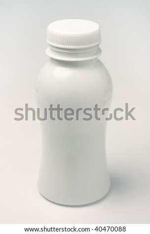 clean blank white plastic bottle - stock photo