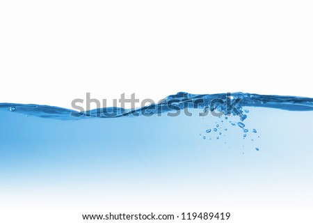 Clean blue water splash on white background illustration - stock photo