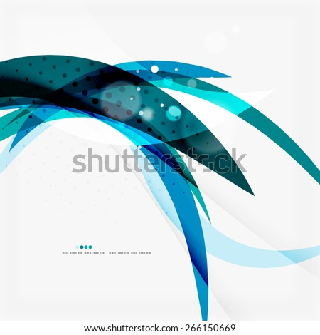Clean blue wave lines on white, abstract background - stock photo
