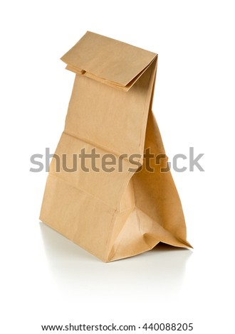 Clean brown paper doggy bag from recycled paper on white background