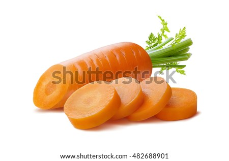 Clean carrot and pieces isolated on white background as package design element