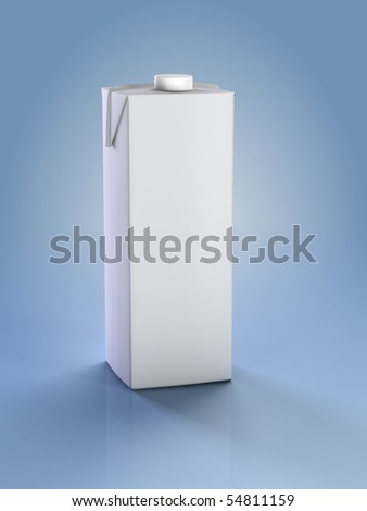 Clean carton.  3D illustration of box or carton of milk.