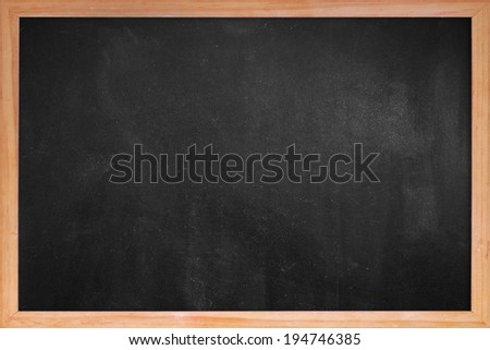 Clean chalk board  in frame for educational or business background - stock photo
