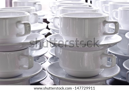 clean dishes and cups isolated.