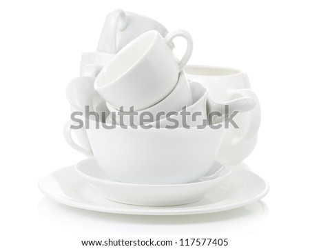 clean dishes and cups isolated on white background - stock photo