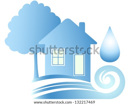 Clean ecology house, blue water and drop - stock photo
