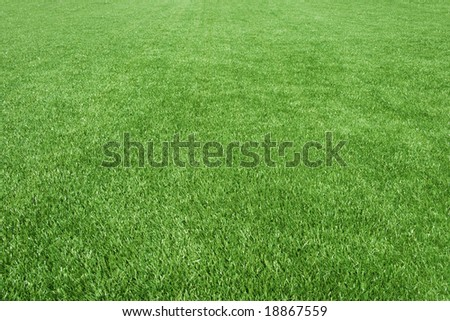 Clean empty football grass field - stock photo