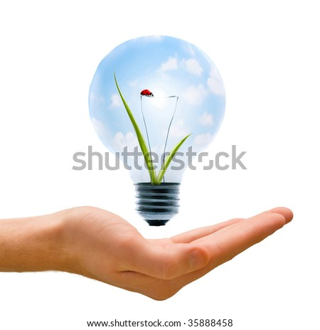 Clean energy, a light bulb with a bright sky and ladybug held up by a hand. - stock photo