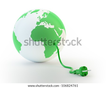 Clean energy concept illustration - World with a power cord - stock photo