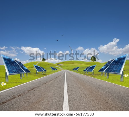 Clean energy concept way with solar panel - stock photo
