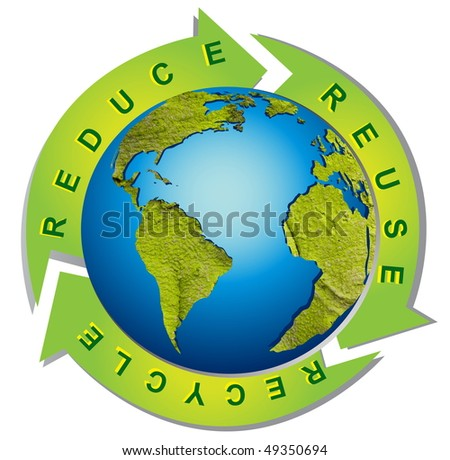 Clean environment - conceptual recycling symbol - stock photo