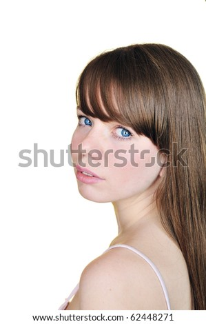 clean face of tender longhaired girl - stock photo