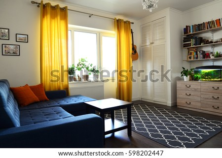 Clean Family Room Blue Couch White Stock Photo 598202447 ...