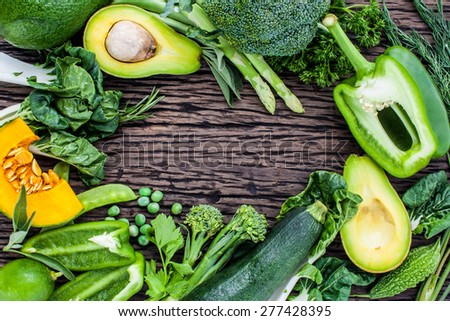 Clean food Concept set up on wooden table. - stock photo