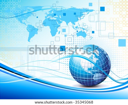 Clean futuristic design background with earth globe and map