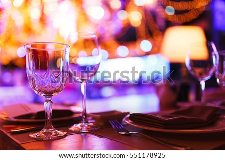 Clean Glasses On A Table Prepared By The Bartender For Champagne And Wine.  Catering For