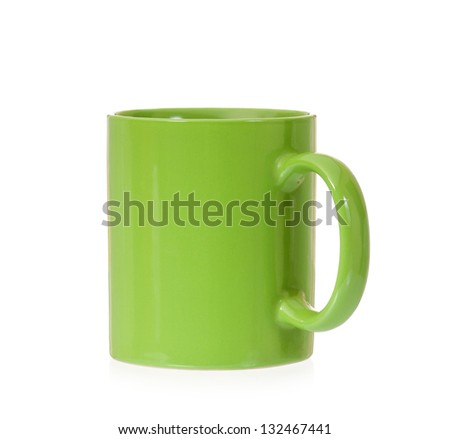 Clean green cup, isolated on white background - stock photo