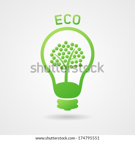 Clean green ecology bulb with tree, icon