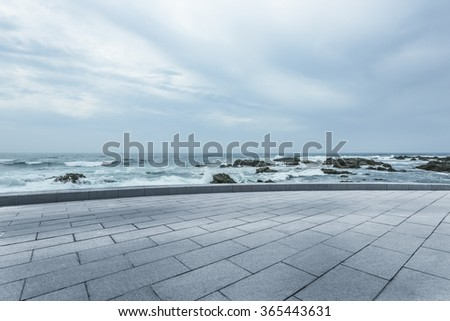 clean highway go aside the bay of ocean, california, usa. - stock photo