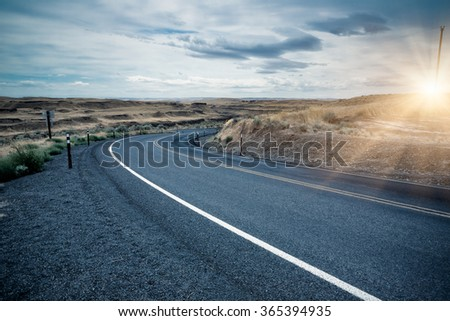 clean highway road in america. - stock photo