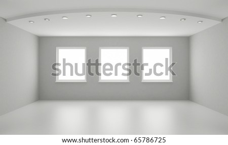 Clean interior, new white room, clipping path for windows included - stock photo