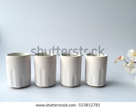 Clean Japanese tea cup on Sakura background
