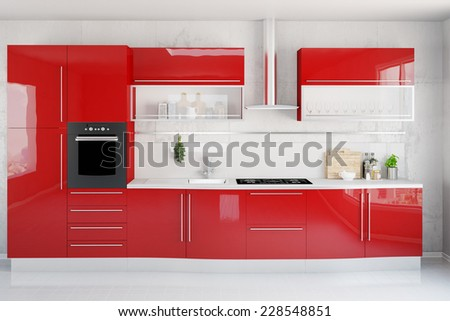 Clean modern red kitchenette in a kitchen (3D Rendering) - stock photo