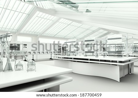 Clean modern white laboratory - stock photo