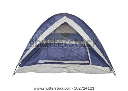 Clean new bright blue tent isolated with clipping path. - stock photo