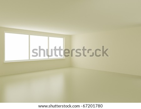 Clean new interior, with clipping path for windows, 3d illustration - stock photo