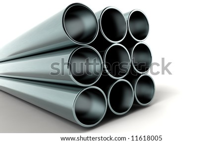 clean new metal 3d pipes - stock photo
