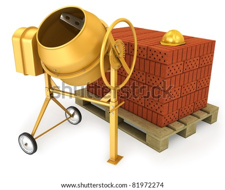 Clean new yellow concrete mixer with helmet and stack of bricks, isolated on white background - stock photo