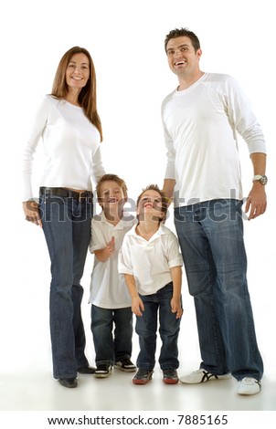Clean portrait of a happy young family laughing together - stock photo