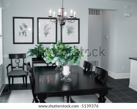 Clean pretty dining room