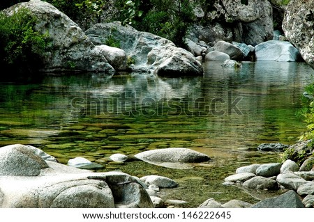 Clean, quiet water stream in Purcaraccia canyon, Corsica, France - stock photo
