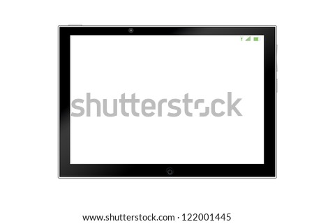 Clean screen tablet computer isolated on white - stock photo