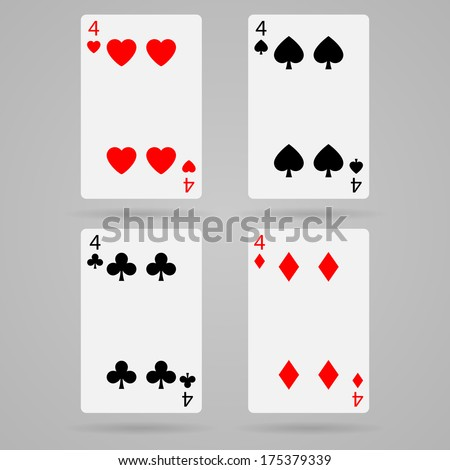 Clean set of playing cards, four